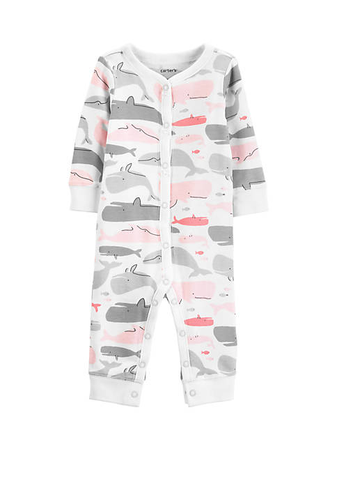 Carter's® Baby Girls Whale Snap-Up Cotton Footless Sleep