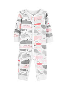 Carter's® Baby Girls Whale Snap-Up Cotton Footless Sleep and Play