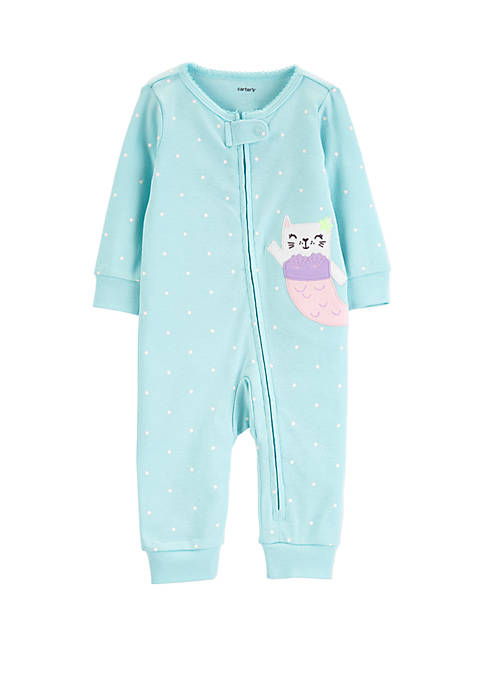 Carter's® Baby Girls Mermaid Zip-Up Cotton Footless Sleep