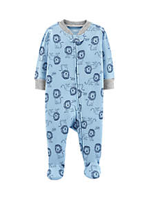 Baby Boys Lion Zip-Up Cotton Sleep & Play