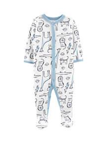 Baby Boys Safari Animal Snap-Up Cotton Sleep & Play