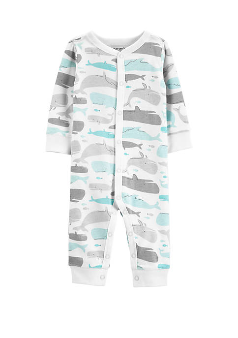 Baby Boys Whale Snap-Up Cotton Footless Sleep and Play