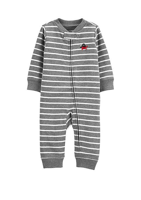 Carter's® Baby Boys Striped Zip-Up Cotton Footless Sleep