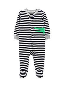 Baby Boys Alligator Zip-Up Terry Sleep & Play