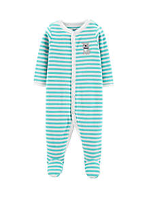Carter's® Baby Boys Striped Dog Snap-Up Terry Sleep & Play