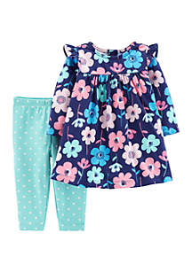 Baby Girls Floral Dress & Polka Dot Legging Set