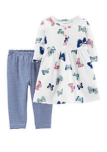 Baby Girls Butterfly Dress & Striped Legging Set