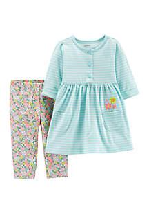 Baby Girls Striped Dress & Floral Legging Set