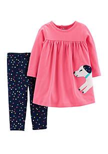 Baby Girls Dog Dress & Polka Dot Legging Set