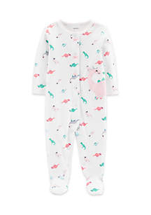 Baby Girls Dinosaur Snap-Up Cotton Sleep & Play