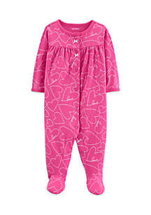 Baby Girls Heart Snap-Up Cotton Sleep & Play