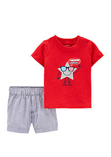 Carter's® Baby Boys 2 Piece 4th Of July Tee and Striped Short Set