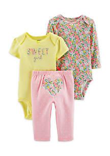 Baby Girls 3-Piece Heart Little Character Set