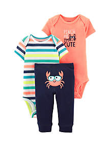 Carter's® Baby Boys 3-Piece Neon Crab Little Character Set