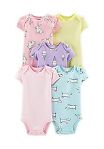 Baby Girls 5-Pack Animal Original Bodysuits