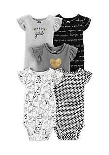 Baby Girls 5-Pack Flutter Sleeve Bodysuits