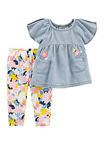 Carter's® Baby Girls Chambray Floral Legging Set