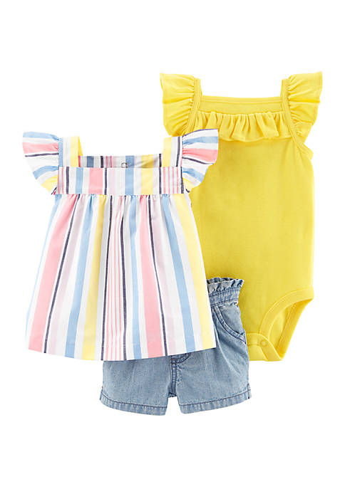 Carter's® Baby Girls 3 Piece Chambray Short Set