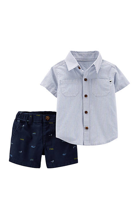 Carter's® Baby Boys 2 Piece Striped Button-Front and