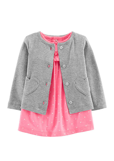 Carter's® Baby Girls 2-Piece Bodysuit Dress and Cardigan