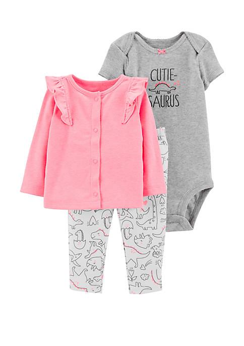 Carter's® Baby Girls 3-Piece Dinosaur Cardigan Set