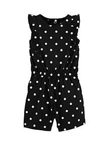 Baby Girls Polka Dot Flutter-Sleeve Romper