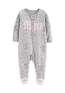 Baby Girls Little Sister Zip-Up Cotton Sleep & Play