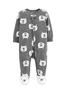 Baby Boys Polar Bear Zip-Up Cotton Sleep & Play