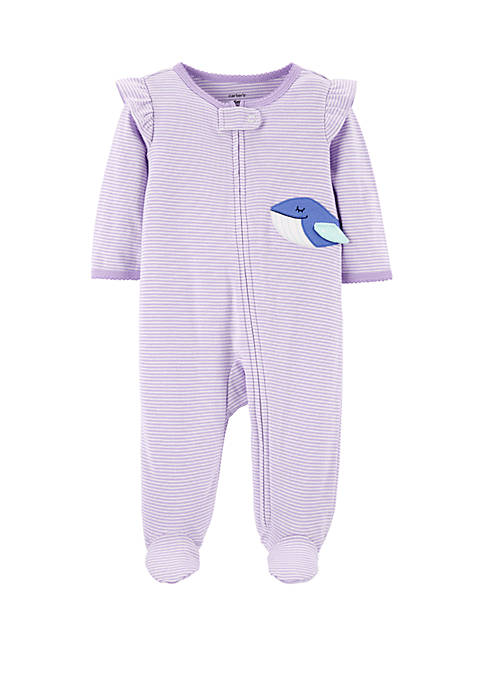 Carter's® Baby Girls Whale Zip-Up Cotton Sleep and