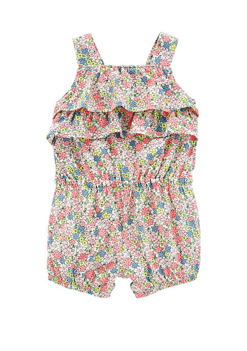 Carter's® Baby Girls Floral Ruffle Tank Romper