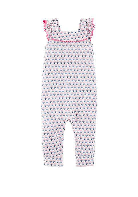 Carter's® Baby Girls Geo Print Pom Pom Jumpsuit