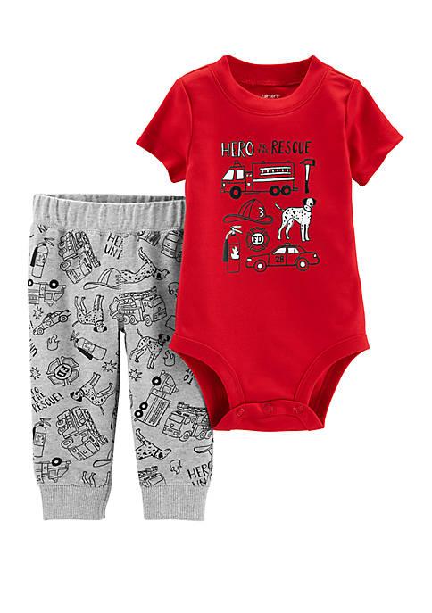 Carter's® Baby Boys 2-Piece Firetruck Bodysuit Pants Set