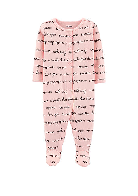 Carter's® Baby Girls Slogan Snap-Up Cotton Sleep &