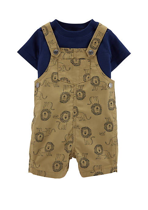 Baby Boys 2-Piece Tee and Lion Shortalls Set