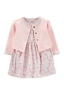 Carter's® Baby Girls 2 Piece Floral Bodysuit Dress and Cardigan Set