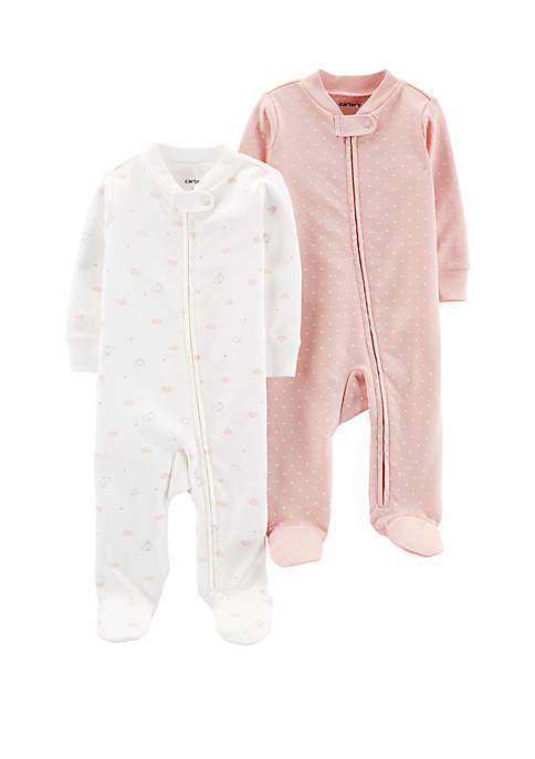 Carter's® Baby Girls 2 Pack Cotton Zip Up