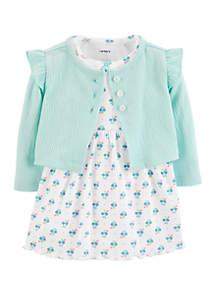 Carter's® Baby Girls 2 Piece Bodysuit Dress and Cardigan Set