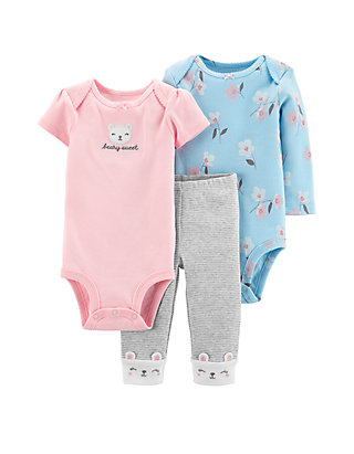 1cde1bc3f72 Carter s® Baby Girls 3 Piece Bear Little Character Set