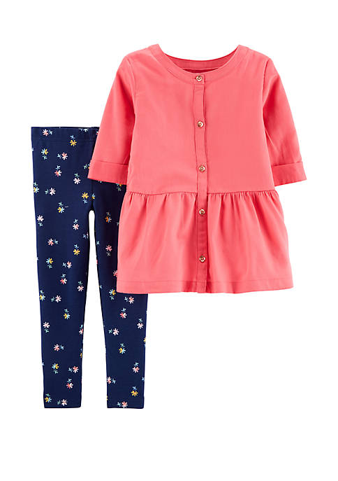 Carter's® Baby Girls Two Piece Button Front Sateen