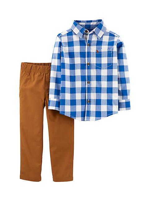 Carter's® Baby Boys 2 Piece Checkered Button Front