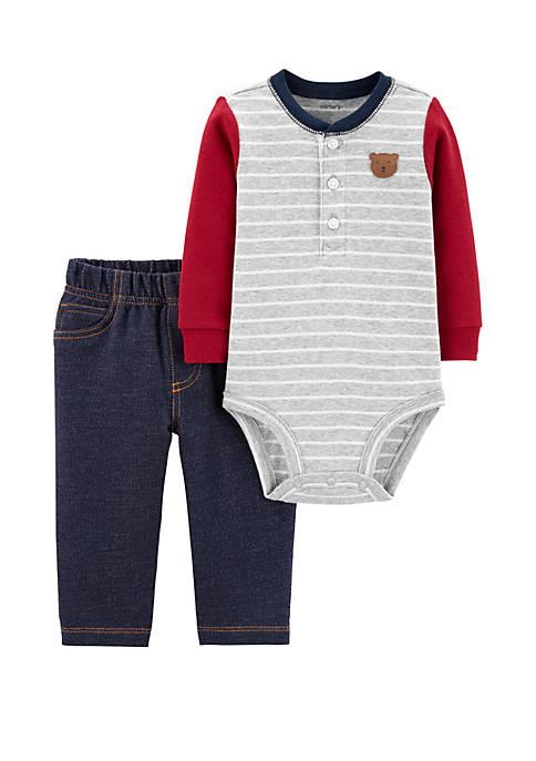 Carter's® Baby Boys 2 Piece Bear Henley Bodysuit