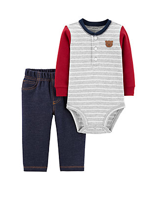 Carter S Baby Boys 2 Piece Bear Henley Bodysuit Pants Set Belk