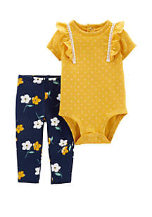 Carter's® Baby Girls Two Piece Polka Dot Bodysuit and Floral Pants Set
