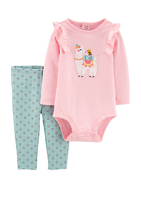 Carter's® Baby Girls Two Piece Llama Bodysuit and