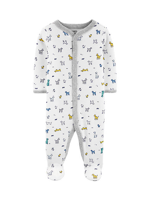 Carter's® Baby Boys White Dogs Snap Footie