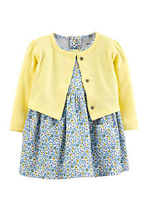 6d88fe6c826b ... Carter's® Baby Girls 2 Piece Floral Bodysuit Dress and Cardigan Set