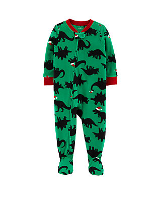 Little Jammies Classic Green Camouflage Footed one-Piece Pajamas for Boys