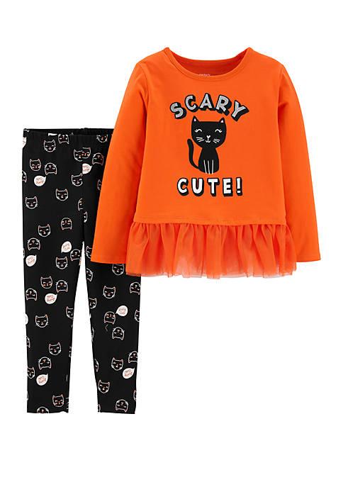 Carter's® Baby Girls 2 Piece Halloween Cat Top