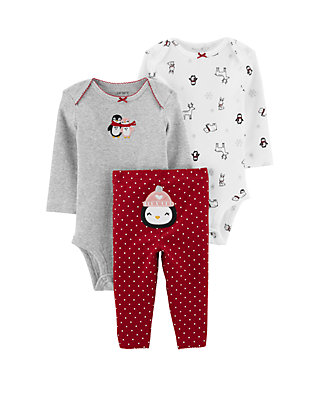 Baby Round Neck Long Sleeve Pure Color Romper Penguin Playing On A Video Game Jumpsuit