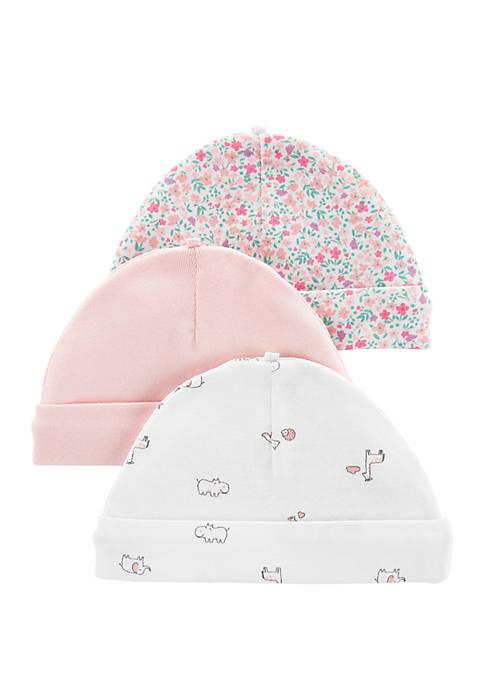 Carter's® Baby Girls 3 Pack Caps